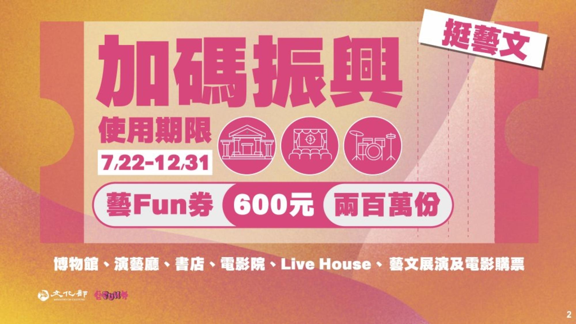 文化部將7月22日發行600元的「藝FUN券」,限量200萬份,無論是看電影、看展覽還是買書都可使用。(圖/取自文化部官網)