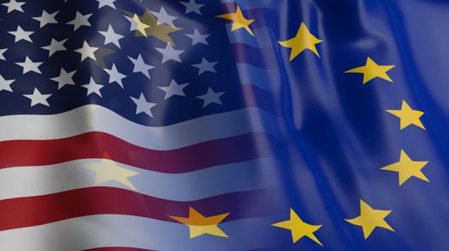 3d rendering EU and USA flag waving 圖 /翻攝申根簽證資訊官網